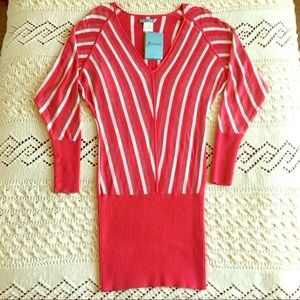Marciano Red Mini Long Sleeve Sweater Dress Small